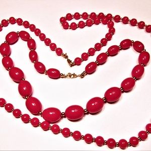 Vintage Monet Red and Gold Bead Necklace Lot of 2